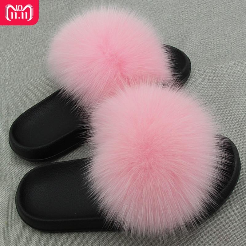 RUIYEE Ms. Real Slipper Luxury Fox Fur Beach Sandals Fluffy Comfortable Hairy Slipper Sandals hairy maclary shoo