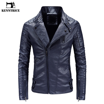 KENNTRICE New Brand Leather Jacket Men's Autumn Leather Coats Solid Male Turn Down Collar Punk Style Casual Outerwear