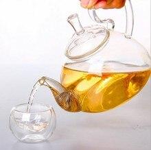 1 STÜCK 250 ml, 600 ml, 750 ml, 1200 ml Hitzebeständige Mit Hoher Griff Blume Kaffee glas Tee Topf Blühende Chinesische Glas Teekannen J1011
