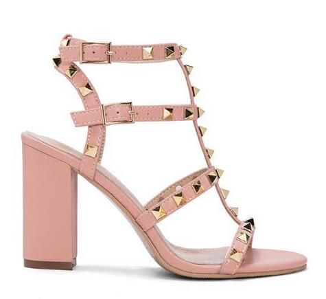 Summer Newest Woman Sandal Thick Heels High Heel Shoes 2017 Nude Pink Leather Ankle Buckle Strap Sandals Rivets Studded Shoes fashion design jaeryn studded leather sandals rivets combat ankle booties high thick heel shoe open toe sexy summer woman sandal