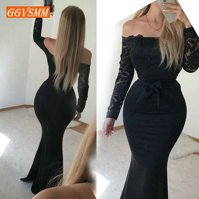 Sexy Meimaid Black Evening Gowns Long 2019 bodycon Party Dresses Women Boat Neck Elastic Satin Zipper Ankle Length Evening Dress