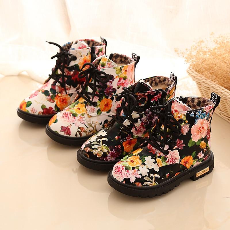 Winter Children Martin Boots Plush PU Leather Print Flowers Non-slip Kids Shoes Girls Snow Boots