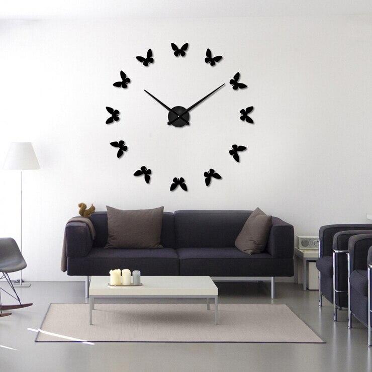farfalla creativo orologio da parete d specchio diy, Disegni interni