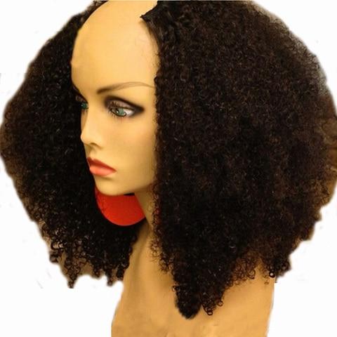 Peruca de Cabelo Luffyhair 180% Densidade Afro Kinky Curly u Parte Humano Perucas Upart Cabelo Humano Remy Mongolian Kinky Curls Oriente Perucas Parte