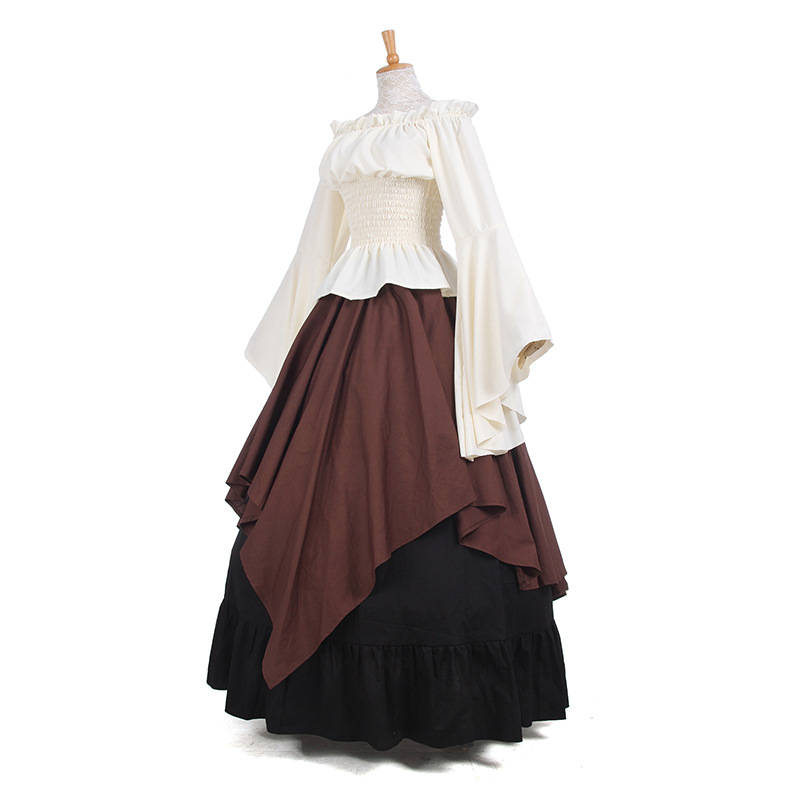 Coldker Women Medieval Renaissance Clothing Costume Off Shoulder Crop Top Skirt Asymmetric Set For Ladies Plus Size S- XXL