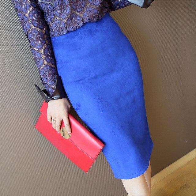 2016 женщин Весна Осень Кожа Замша Юбка-Карандаш Мода Slim Упругие Бедра Шаг Миди Женщины Юбки Женский