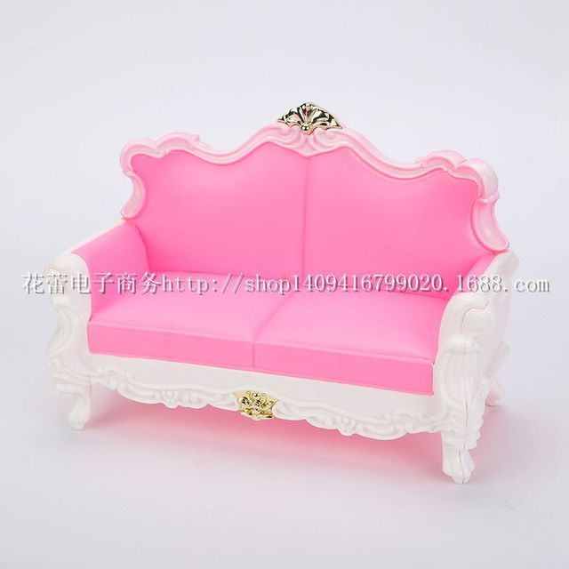 Large New Case For Barbie Doll Dream House Furniture Accessories Pink Living  Room Sofa Stylish Home