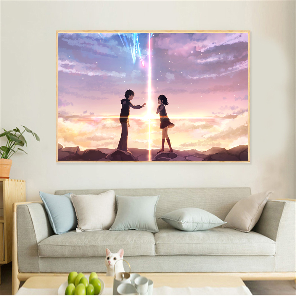 Paintings Your name Boys and girls meet in dreams and look for each other story Art canvas oil painting Baby room decor Cuadros