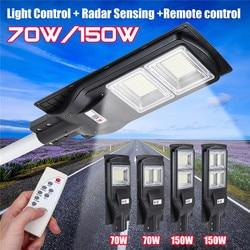 70 W/150 W LED Solar Straße Licht Wand Lampe Licht + Radar Sensing + Fernbedienung Wasserdichte Outdoor garten Zaun Wand Timer Lampe