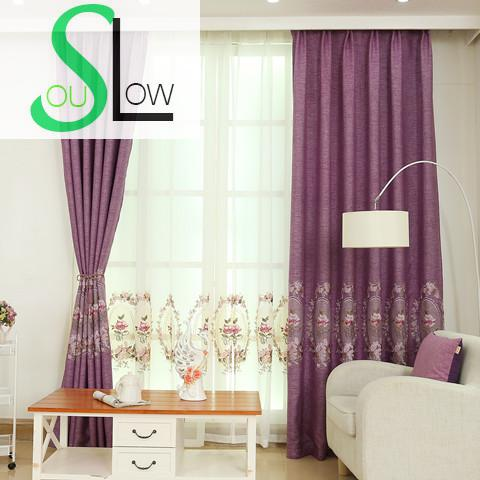 Slow Soul Blue Green Grey Purple Mirror Peony Curtain White Embroidered Curtains Tulle Cortinas