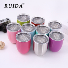 RUIDA  9oz Egg Shapped Beer Wine Coffee Tea Mug Stainless steel Tumbler Insulated thermos Travel Outdoor sports Portable Car Cup