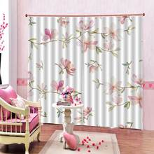 Luxury Blackout 3D Window Curtains For Living Room frech pink flower curtains for girls room Blackout curtain(China)