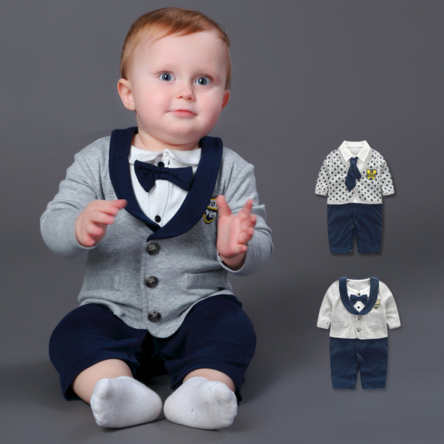 67d73972bd2f Baby Rompers 100% Cotton Bow Tie Gentleman Suit Boys Leisure ...