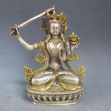 Vintage Asia Chinese Silver Bronze Gilt Tibetan Buddhism Statue --- Manjushri Buddha wholesale factory Arts outlets