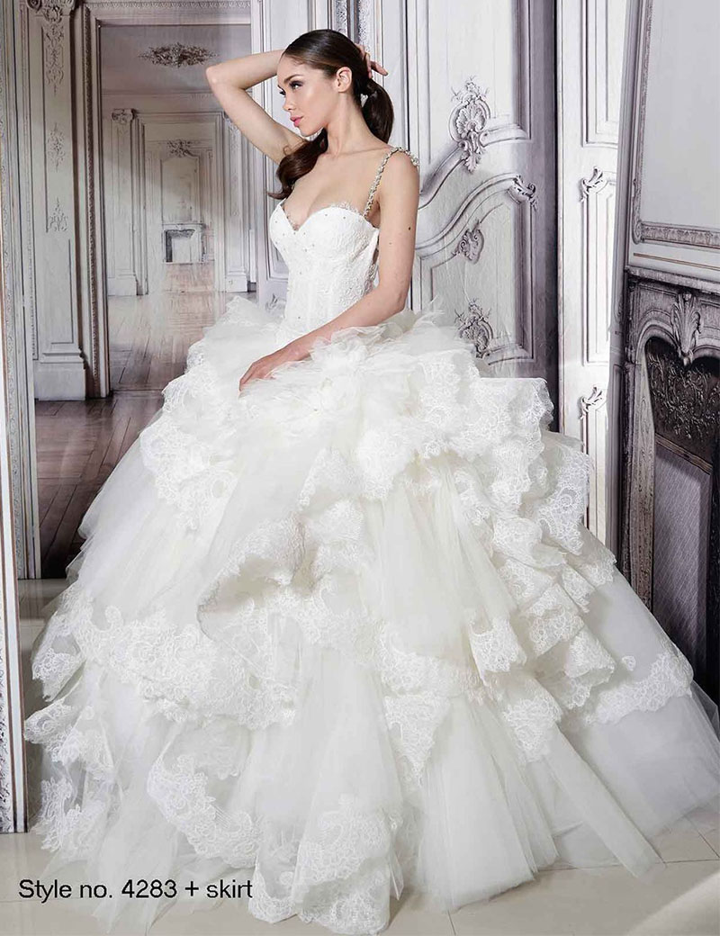 Online Shop Special Sexy White Lace 2 Pieces Wedding Dress With Fluffy Skirt Separate Formal Long Spaghetti Strap Backless Bridal 2016