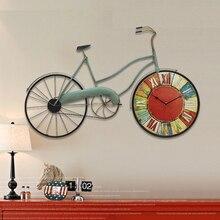 Reloj de pared vintage estilo mediterráneo decorativo decoración de pared sala de estar elegante decoración creativa de pared bicicleta