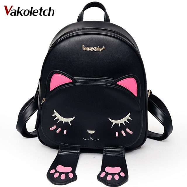 Cute Cat Backpack School Women Pu Leather Backpacks for Teenage Girls Funny  Cats Ears Canvas Shoulder Bags Female Mochila KL234 01e3ca28f2d2a