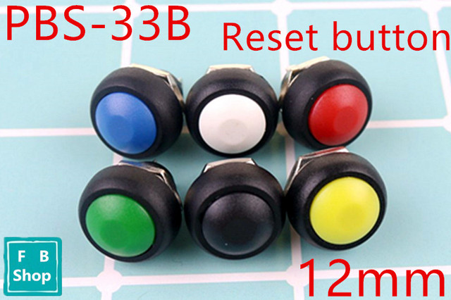 6Pcs PBS 33b 2Pin Mini Switch 12mm 12V 1A Waterproof momentary Push button Switch since the reset Non locking