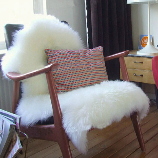 Sheepskin Chair Cover Seat Pad Soft Carpet Hairy Plain Skin Fur Fluffy Area Rugs Bedroom