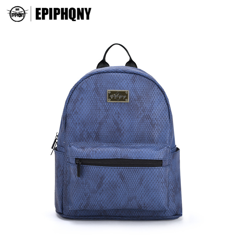Epiphqny Famous Brand Women Backpack Serpentine Backbag School for Girls PU Leather Snake Travel Bag Small