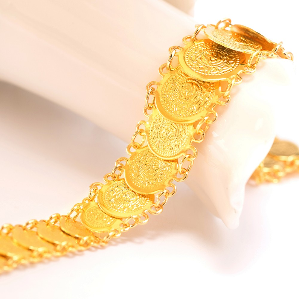 Ethlyn Islam coin bracelet women Gold Color hand chain bangle wholesale,muslim arab middle east wedding jewelry B021