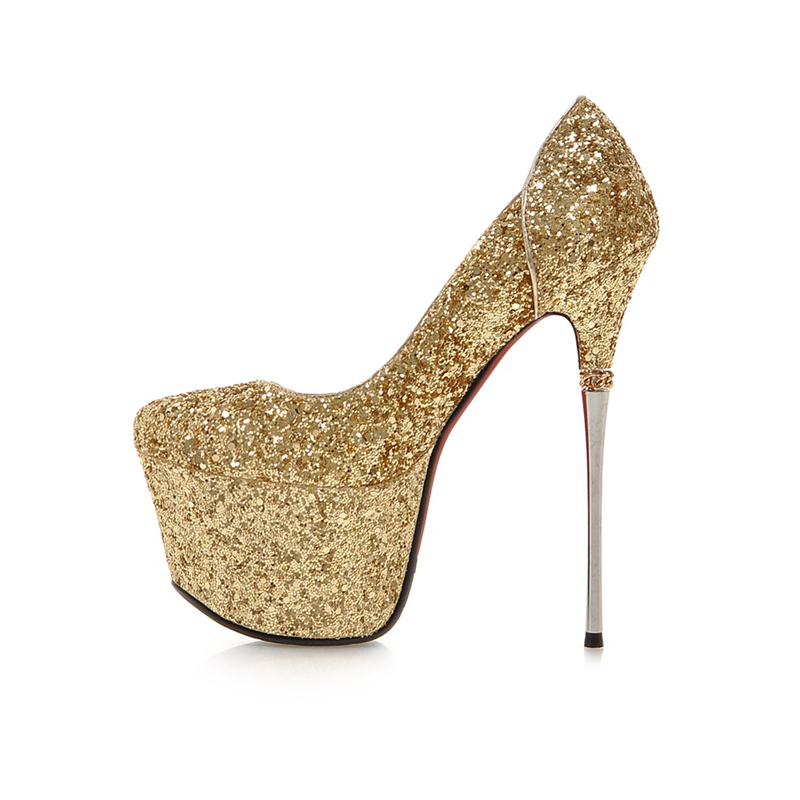 KarinLuna Big Size 32 43 Spring Summer Party Woman Shoes Women Sexy 16cm  Thin High Heels Bling Upper Bride Pumps Shoes-in Women s Pumps from Shoes  on ... 96c16aea9aac