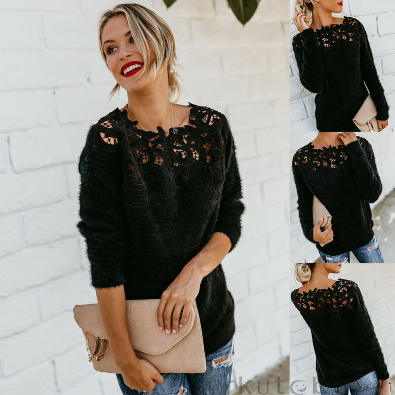 Sexy Black Lace Women Hollow Sweaters Long Sleeve Pullover Tops Sweater Ladies O Neck Jumper Hollow Out Knitwear