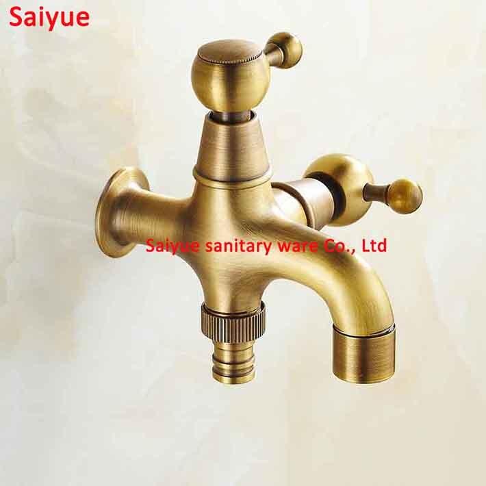 Uniqyue Antique cuivre pratique à l'aide de laiton massif croix jardin extérieur robinet eau machine à laver vadrouille robinet avec valve en céramique