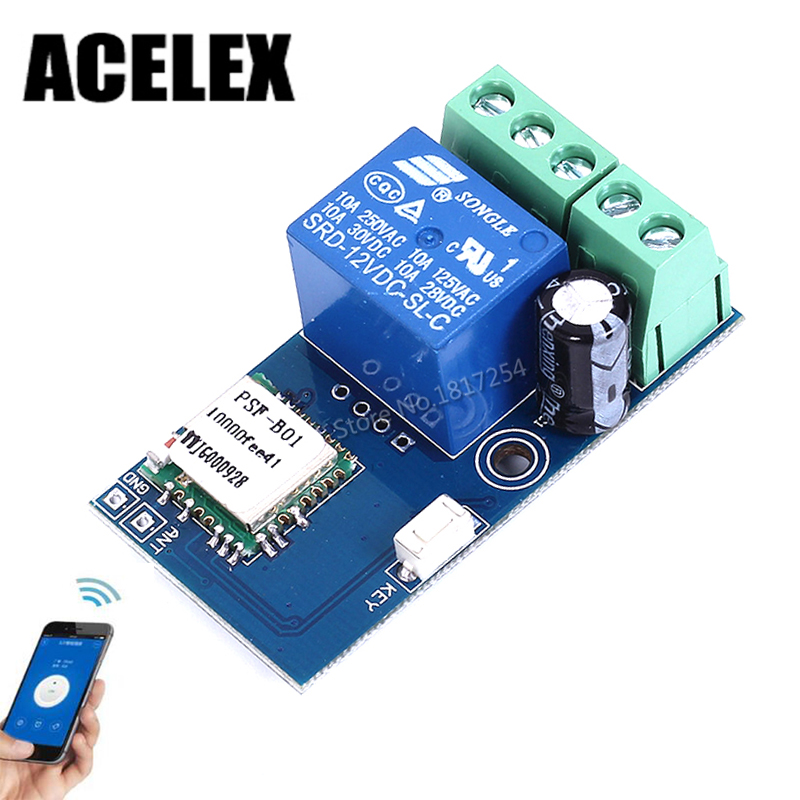 DC 12V Wireless Wifi Relay Switch Module Mobile Phone Remote Control Timer Self-Lock Low Power For Android IOS Smart Home