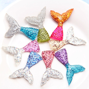 10Pcs Exquisite Mermaid Tail Plastic Resin Beads For Jewelry Making Handmade Pendant Fit Decoration Accessories 29x45mm