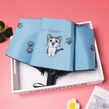 Yesello Cute Cartoon Cat Folding Umbrella Man Women Pencil Mini Pocket Parasol Girls Anti-UV Waterproof Portable Travel Umbrella(China)