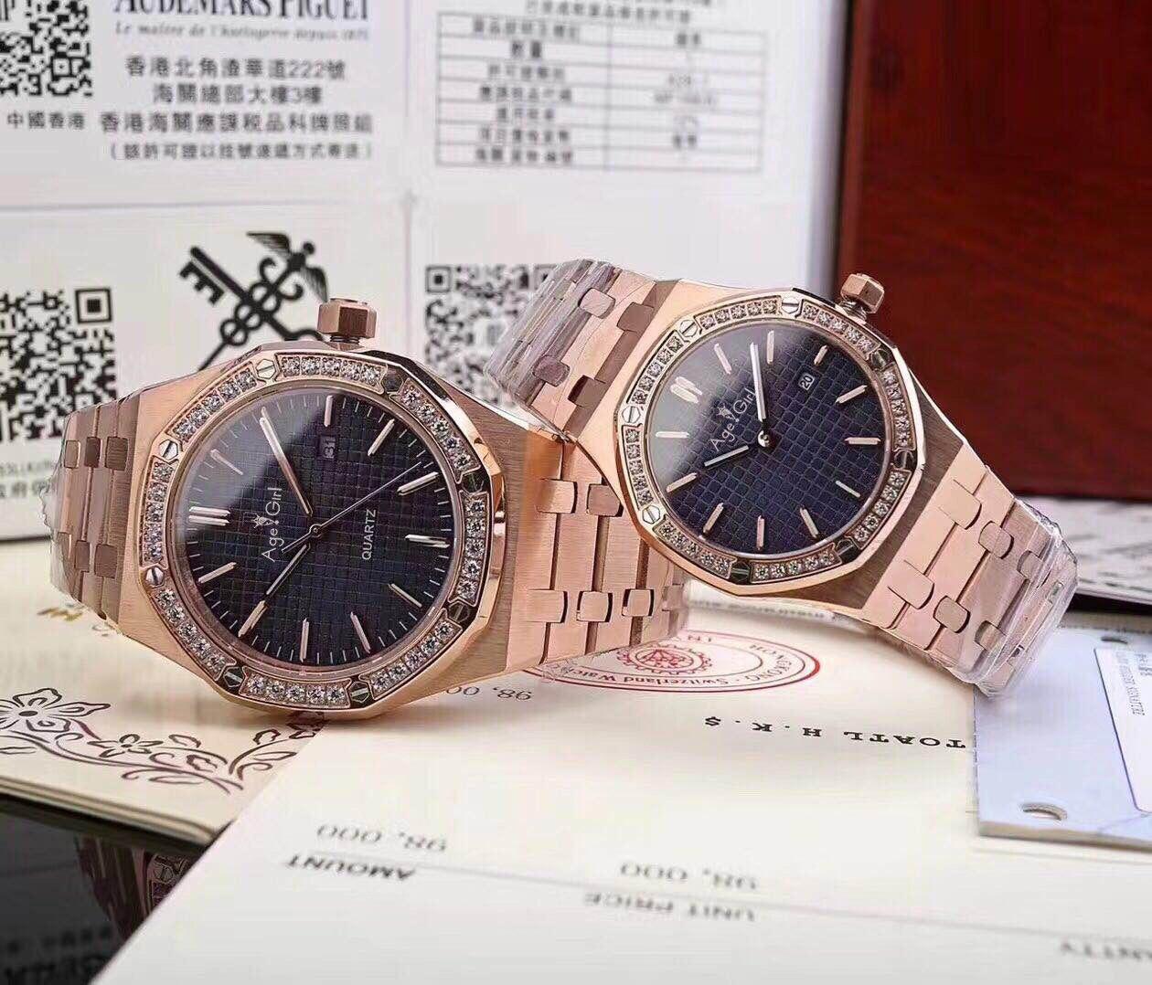 Top luxe tout nouveau hommes femmes en acier inoxydable japonais Quartz saphir Rose or noir bleu diamant Sport montre étanche AAA +