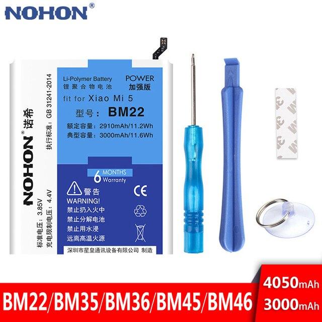NOHON BM22 BM35 BM36 BM45 BM46 סוללה עבור שיאו mi mi 5 4C 5S mi 5 mi 4C mi 5S אדום mi הערה 2 3 פרו החלפת סוללה + כלים חינם