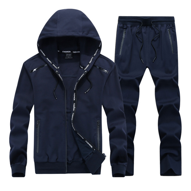 Fashion Men Sporting Suit Set Casual Hooded Polo Jacket and Jogger Pants Set 2 Pieces Autumn Track Suit Male Clothes L-9XL