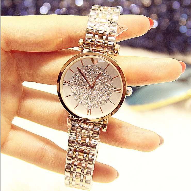 2019 Luxury Brand Lady Crystal Watch Women Dress Watch Rhinestone  Rose Gold Quartz Watches Female Stainless Steel Wristwatches