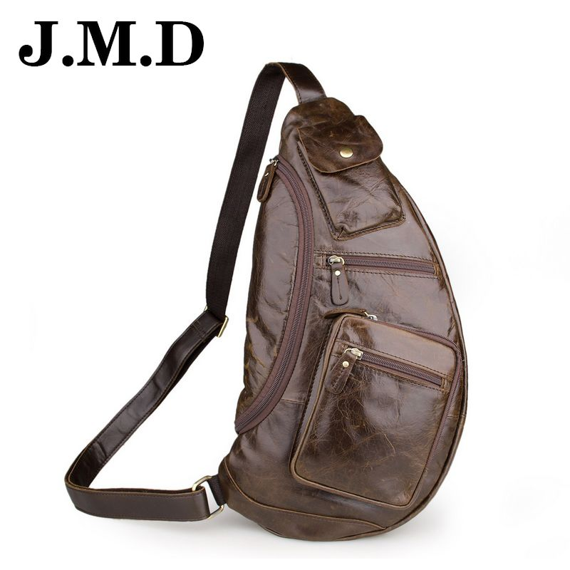 ФОТО JMD 2017 Genuine Leather Chest Pack Large Capacity Men Messenger Bags Travel Sling Bag Vintage Men Crossbody Shoulder Bags JD044