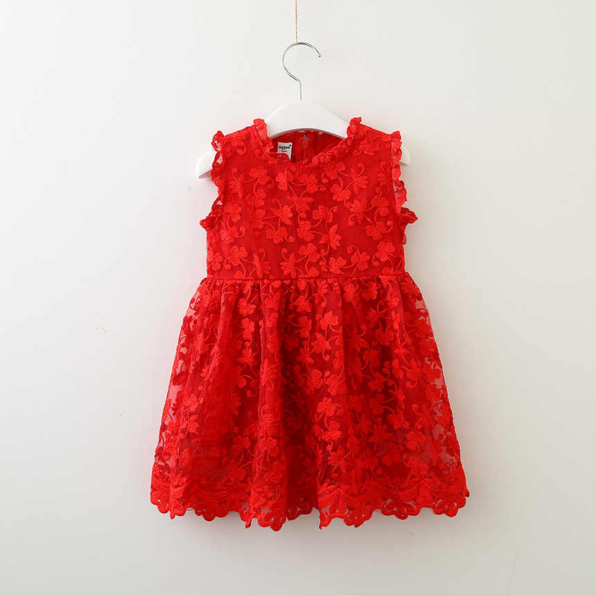 Модное платье принцессы для девочек; вечерние платья; красное кружевное платье для детей; праздничное детское платье; Милая Одежда для девочек