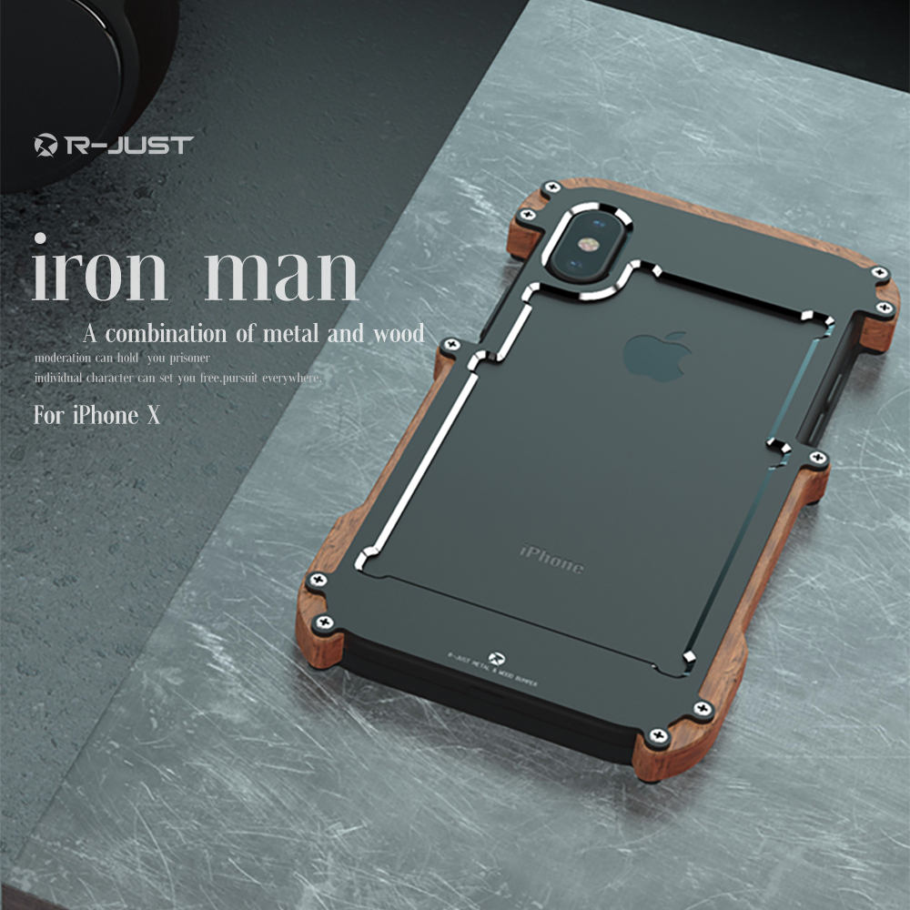 R-Just For Apple <font><b>iPhone</b></font> 7 <font><b>Case</b></font> Luxury Hard Metal Aluminum Wood Protective <font><b>Bumper</b></font> Phone <font><b>Case</b></font> for <font><b>iPhone</b></font> X 5 S 6 <font><b>6S</b></font> 7 8 Plus Cover image