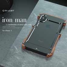 R-Just For Apple iPhone 7 Case Luxury Hard Metal Aluminum Wood Protective Bumper Phone Case for iPhone X XS 6 6S 7 8 Plus Cover kinston protective bumper frame case for iphone 6 4 7 black