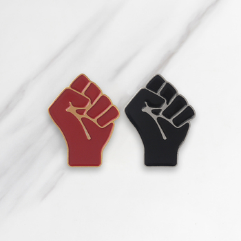 Raising Fist Soft Enamel Brooches Black Red Collar Pins for clothes Shirt Bag Hat Badge Communism Jewelry Gift for Friends image