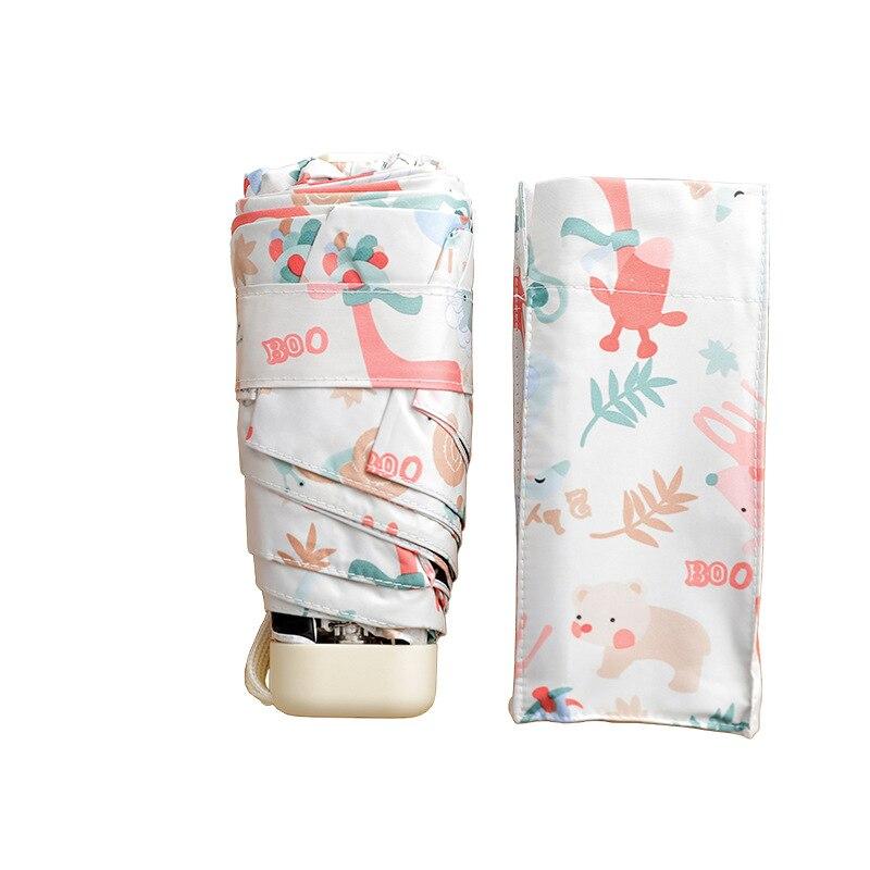 Umbrella Woman Mini Pockets Umbrella Small Folding Kid Dolls Print Umbrella Men Sun Rain Gear Parasol Umbrellas Bags For Women