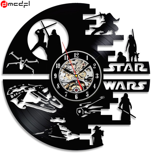 Home Living Creative Clock CD Vinyl Record Wall Clock Star Wars Theme Home Decor 3D Hanging Watches Decoration