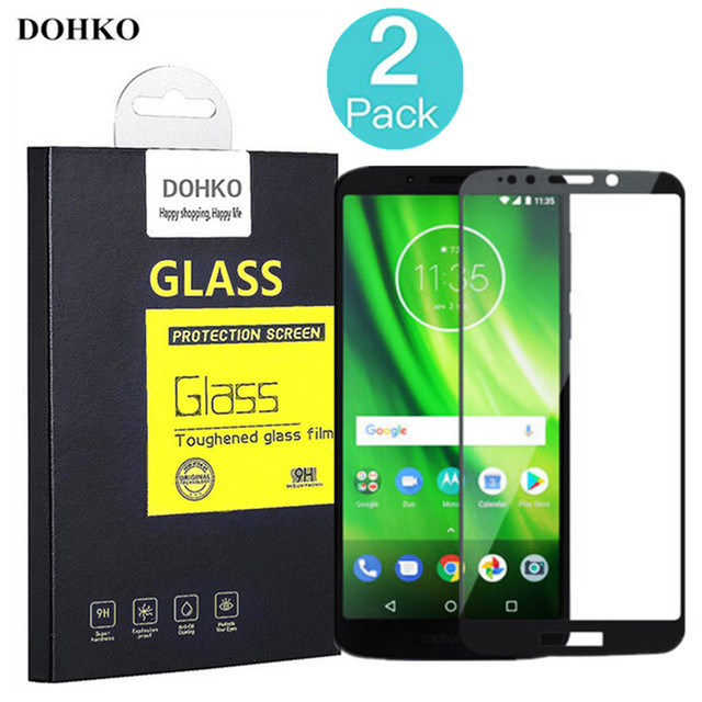2 PACK DOHKO For Moto G6 G6 Plus Protective Tempered Glass  2.5D 0.26mm HD Full Cover Screen Protector For Moto G6 Play
