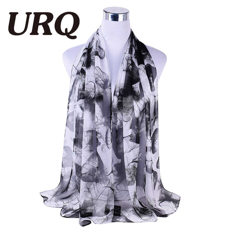 URQ Autumn And Spring Scarf Women Fashion Long Leaves Printed Chiffon Scarves Ladies Stoles Warm Shawls Hijab For Women Q5A16553