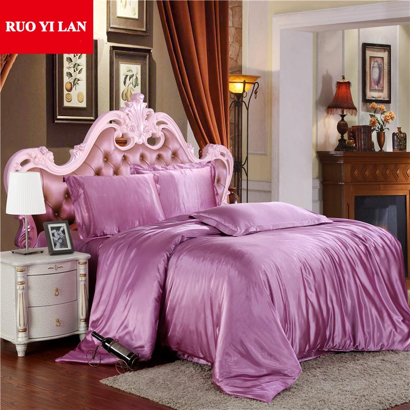 Silk One Piece Duvet Cover Solid Color Cotton Home Bedding Quilt Cover Twin Full Queen King Pink/Blue/Purple/Grey