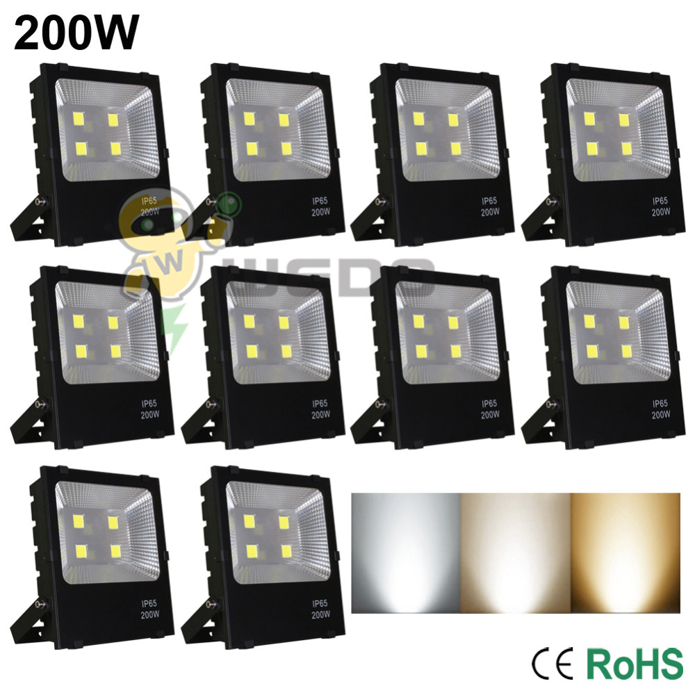 10 PCS 200W LED Flood Light Lamp Super Bright Outdoor Waterproof IP65 Non-Dimmable Cool White/Natural White/Warm White 85-265V