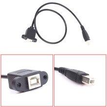 USB 2.0 Tip B erkek Kadın M/F UZATMA Veri Kablosu Panel Montaj Yazıcı Için Vida deliği ile 0.3 m/1FT
