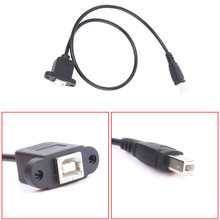 USB 2.0 Type B Male to Female M/F EXTENSION Data Cable Panel Mount For Printer  with Screw hole 0.3m /1FT
