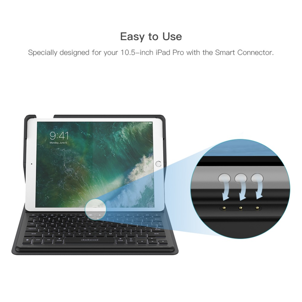 dodocool Mini Smart Keyboard for iPad Pro 10.5 inch Keyboard with Smart Connector Slim Shell Protective Cover Folio Case Stand 3