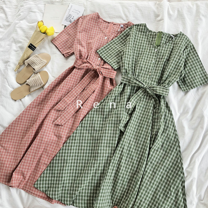 Summer Elegant Women Long Maxi Dress V Neck Plaid Red Green Dresses High Waist Shirt Dresses